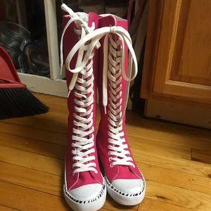Super High One Length Lace Up Hot Punk Punk Boots!